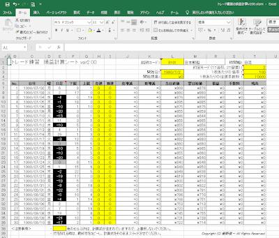 トレード練習の損益計算EXCELシート(チャートギャラリー対応版)