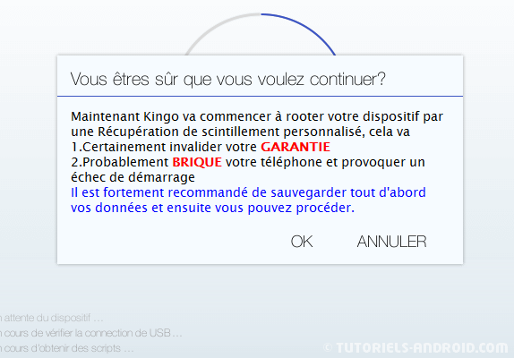 Kingo Android ROOT : accepter l'installation du ROOT