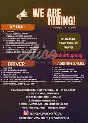 Lowongan Kerja Aice Kupang Sebagai Sales, Asisten Sales, Driver