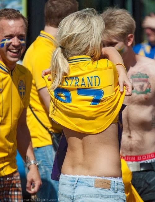 Hot sexy Euro Soccer girl at stadium