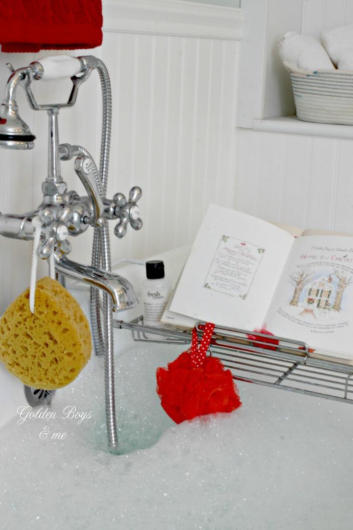 Pedestal tub in DIY master bathroom with holiday decor - www.goldenboysandme.com