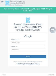 BUK Post-UTME Screening registration and admission application form