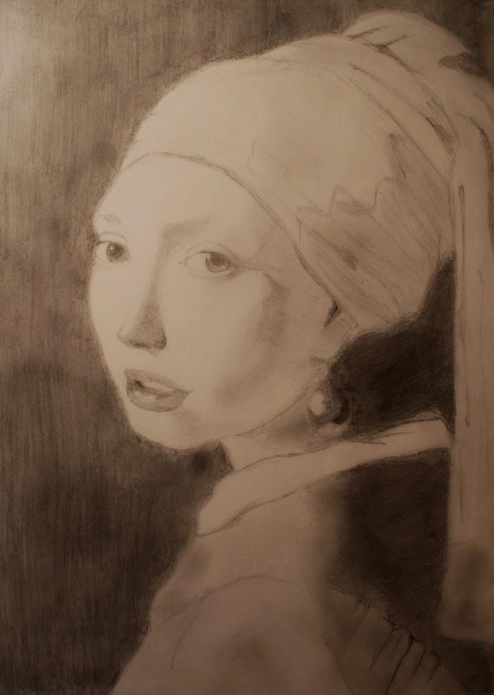 Drawing Vermeer Ragazzaconorecchinodiperla Girlwithperlearring