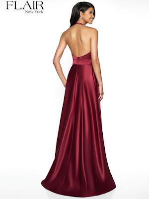 Stain Halter prom Dress wine color back side