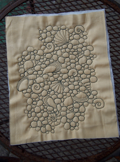 Free motion quilting pebbles and shells