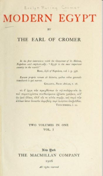 Modern Egypt by The Earl Of Cromer in Pdf