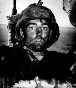 WW2 U-S Marine after 2 days and nights of hell on beach of Eniwetok in Marshall Islands- Feb 1944