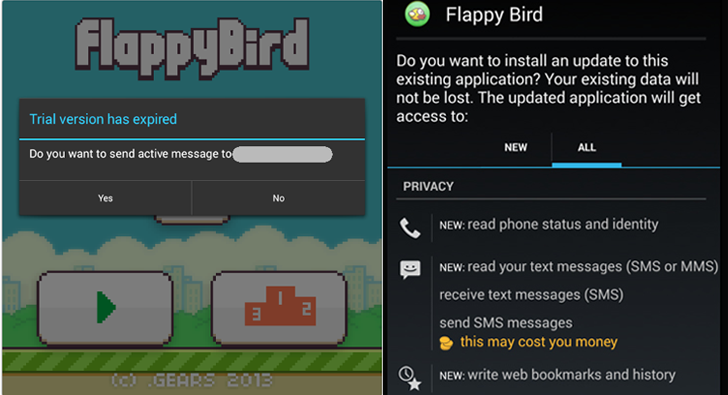 Flappy Bird app clones sends text messages to Premium Number