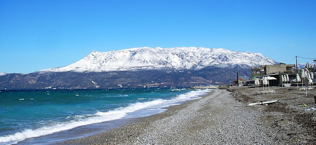 Snow on Gerania Mountains 2011 Loutraki Photo Hilary Anastadiadis