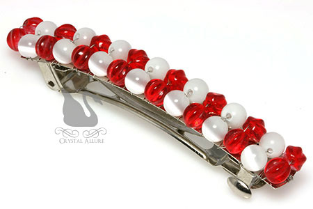 Merry Red White Holiday Beaded Barrette (HC102)