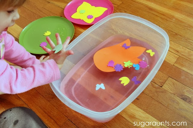 Toddlers will love this Spring-themed water bin.