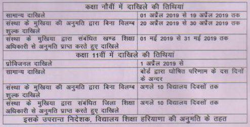 image : Haryana Govt. School Admission Schedule 2019-20 @ Haryana Education News