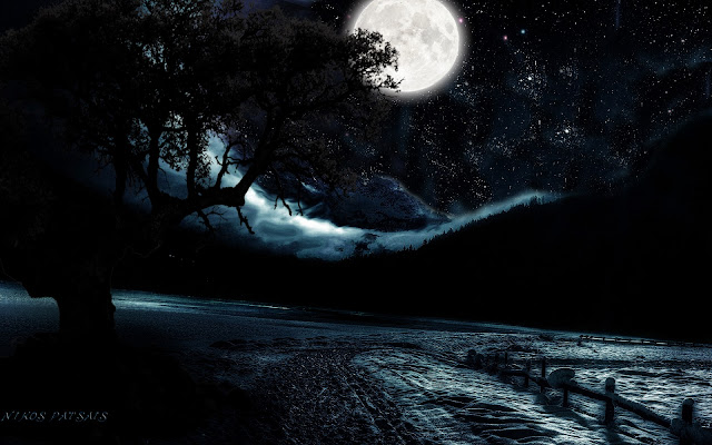 Image result for full moon fog and stars paintings