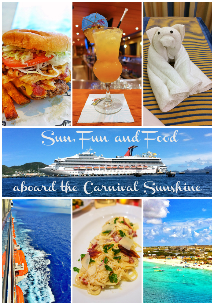 Sun, Fun and Food Aboard the Carnival Sunshine - 8 days in Eastern Caribbean - stops in St. Maarten, St. Kitts, San Juan and Grand Turk. The food aboard the Carnival Sunshine was absolutely amazing! 24 hour pizza and ice cream, incredible asian food, Italian food, a great steakhouse and a private dinner with the Executive Chef. Who know there was so much gourmet food aboard a cruise ship?!?!