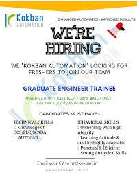 B.E / B.Tech Jobs vacancy In Kokban Automation Pvt Ltd.Pune For Position Graduate Engineer Trainee (G.E.T)