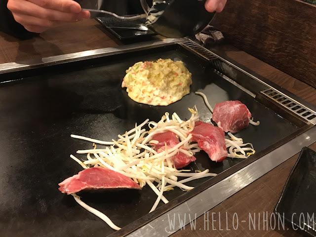 Okonomiyaki batter and maguro tuna steaks