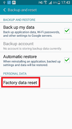 Find your Factory Reset option.