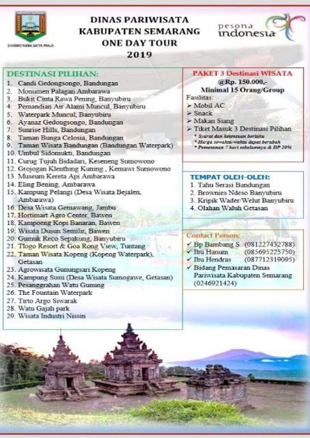 wisata kabupaten semarang paket harga one day tour 2019