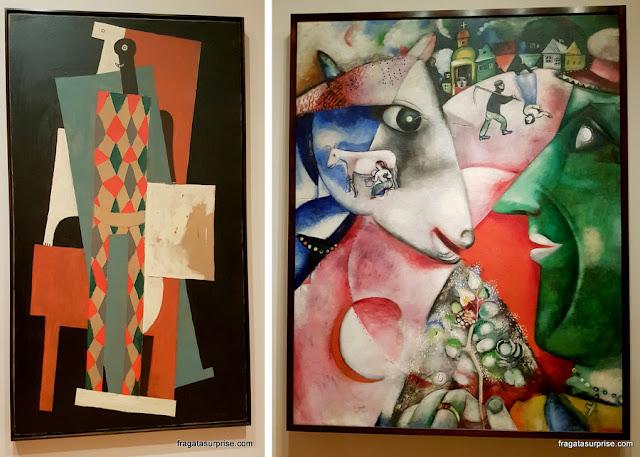 """""""Arlequim"""", de Pablo Picasso e """"Eu e a Vila"""", de Marc Chagall"""
