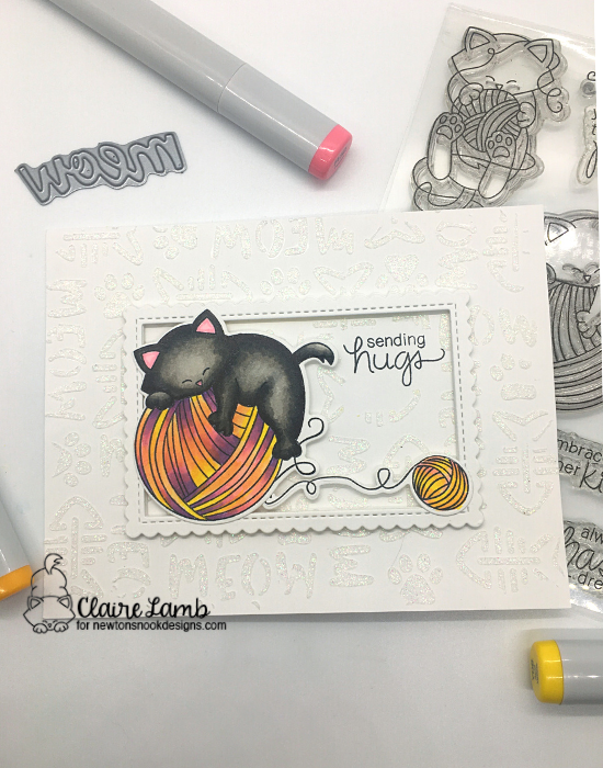 Sending hugs by Claire features Newton Unwinds and Meow by Newton's Nook Designs; #newtonsnook, #inkypaws, #cardmaking, #catcards