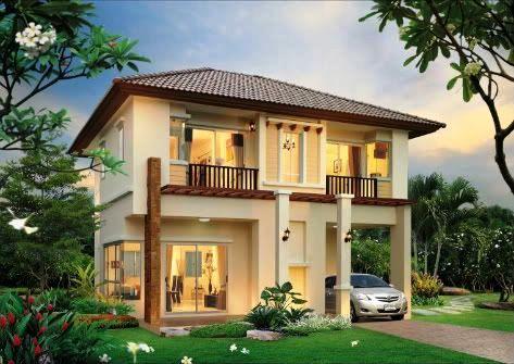 Rumah minimalis 2 lantai atap limasan dengan kebun yang luas