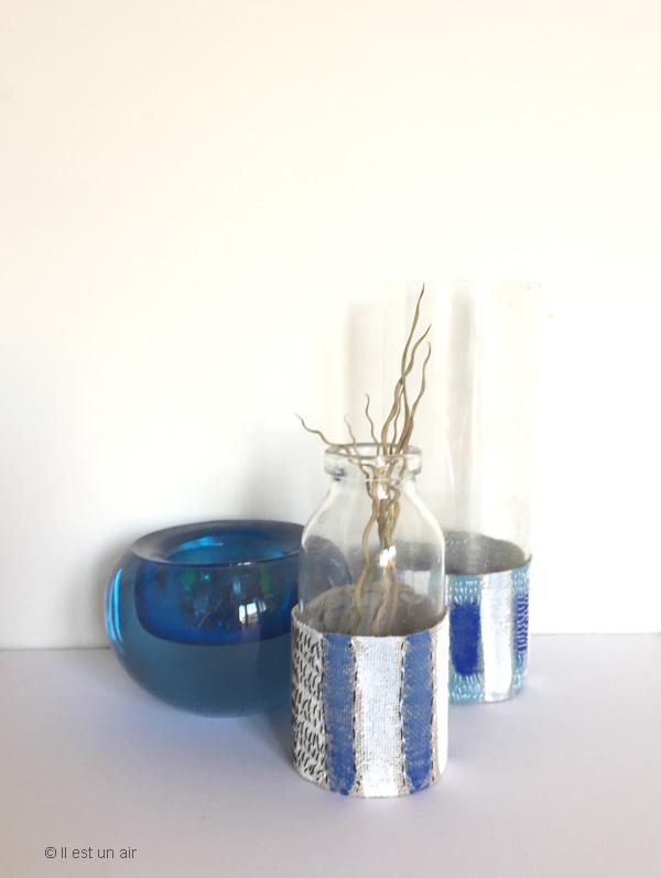 vases textiles bleus