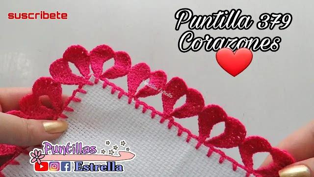 Tutorial Puntilla Corazones a Ganchillo Paso a Paso