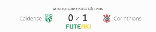 O placar de Caldense 0x1 Corinthians pela Primeira Fase da Copa do Brasil 2017