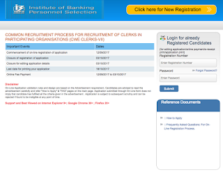IBPS Clerk VII 2017, Registration Link Activated, Apply Now