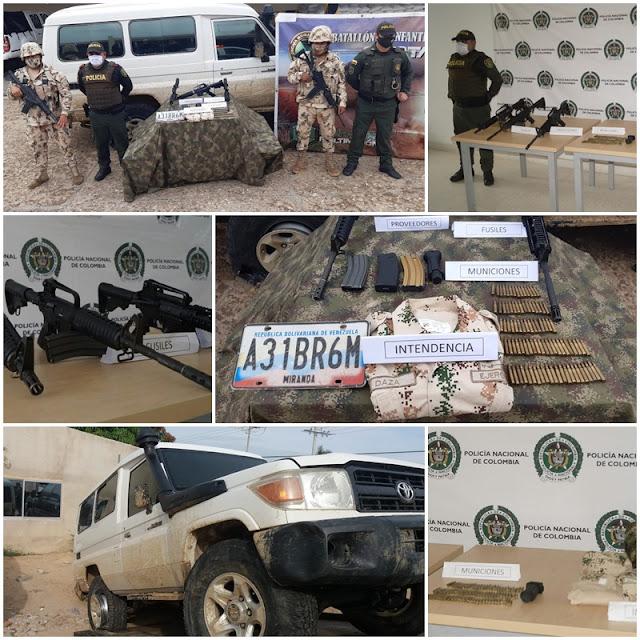 Tres fusiles, municiones y prendas del ejército se incautó la policía en Riohacha