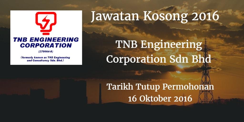 Jawatan Kosong TNB Engineering Corporation Sdn Bhd 16 Oktober 2016