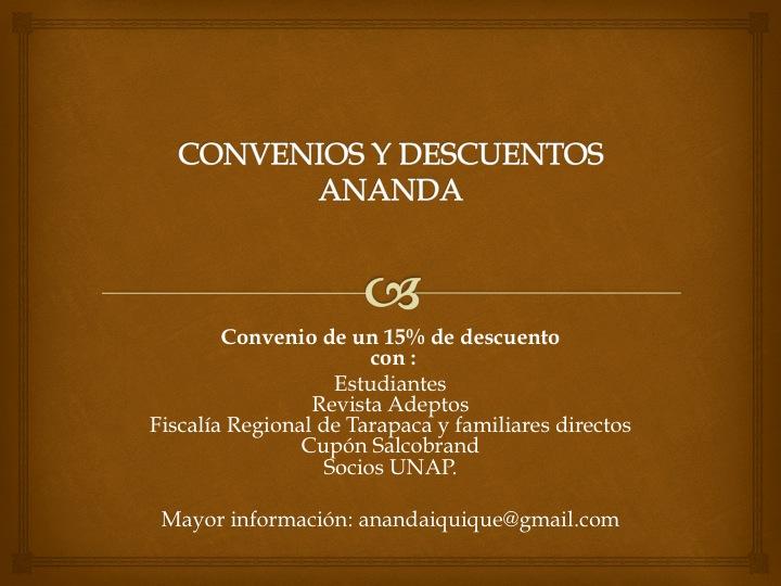 CONVENIOS y DESCUENTOS Ananda.  0a19fb7e36fa
