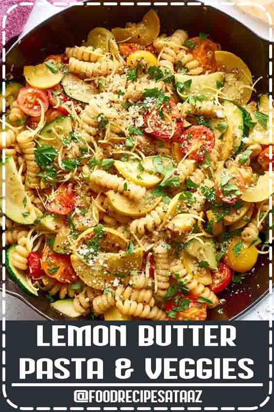 4.7 ★★★★★ | A quick and easy recipe for pasta tossed in a lemon butter sauce and filled with sautéed zucchini and cherry tomatoes. #sauteed #zucchini #recipes #pasta
