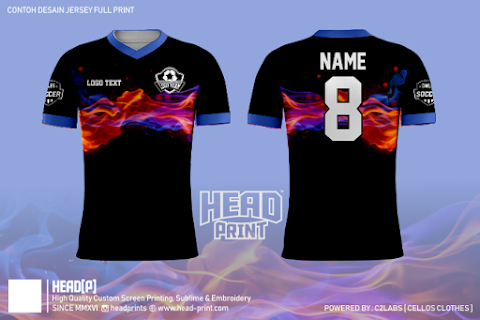 Blue Fire Jersey Full Print Custom - Head Print Jersey