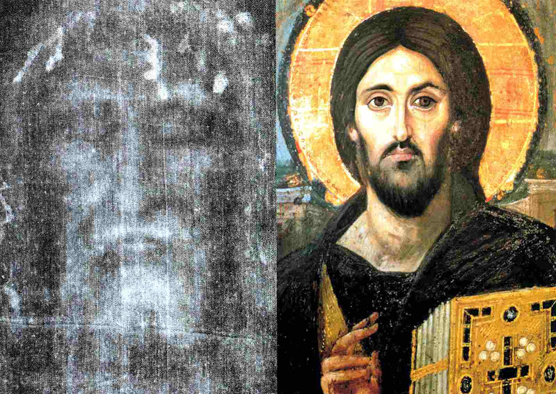 Já nos primeiros séculos os artistas cristãos imaginaram o rosto de Cristo com acerto sem te-lo conhecido. Santo Sudário e Cristo Pantocrator do mosteiro de Santa Catarna no Sinai, século V