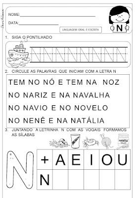 atividades do alfabeto, Letra N, Alfabetização e letramento, Atividades de alfabetização,