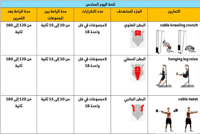 جدول تمارين حديد