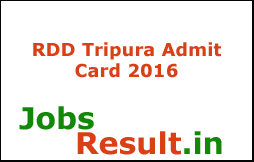RDD Tripura Admit Card 2016