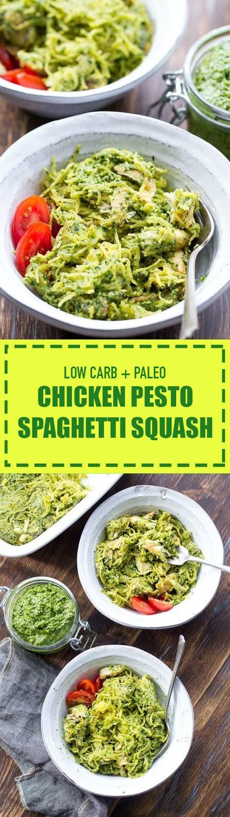 Chicken Pesto Paleo Spaghetti Squash