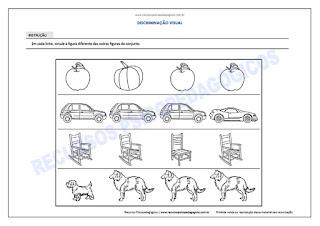 Atividade para crianças achar figura diferente fácil imprimir pdf