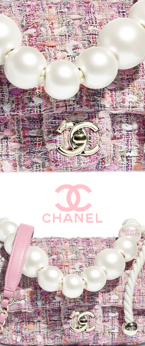 Brilliant Luxury♦Chanel tweed flap bag with pearls #pink