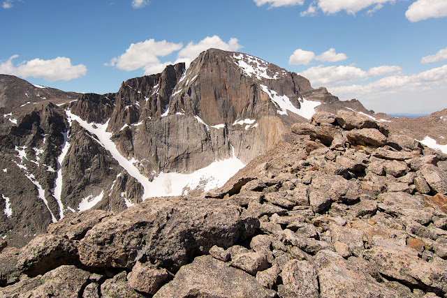 The diamond face of Longs Peak from Mt. Lady Washington in Rocky Mountain National Park Colorado