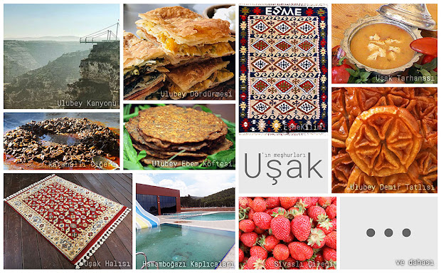 Uşak'ın meşhur şeylerini gösteren resimlerden oluşan kolaj