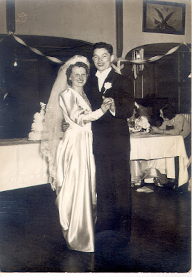 Mary Agnes Dixon and Felix Cabarle on their wedding day, 1 Feb 1941.