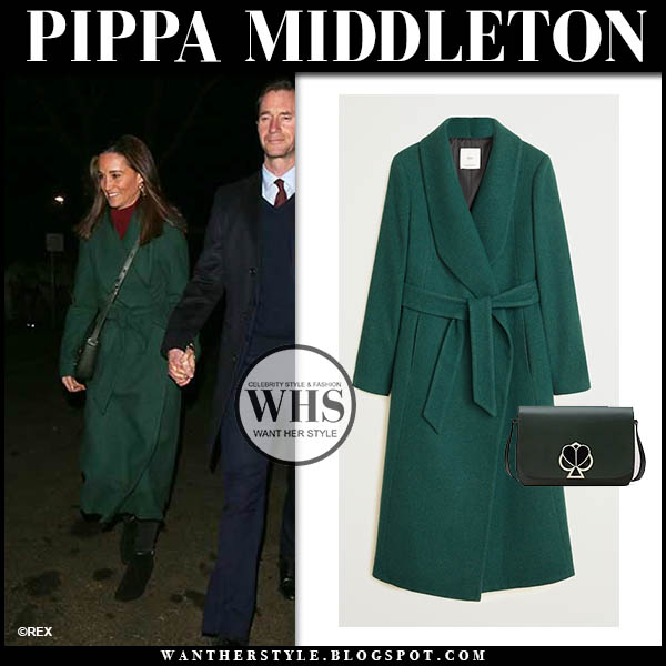 Pippa Middleton in green belted wrap Mango coat. Winter fashion december 4