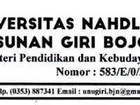 Lowongan Dosen Universitas Nahdlatul Ulama Sunan Giri Bojonegoro Tahun 2017