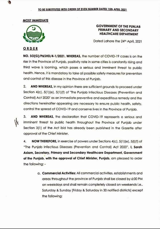 ORDER REGARDING RESTRICTION OF VARIOUS ACTIVITIES IN PUNJAB FOR PREVENTION OF SPREAD AND CONTROL OF CORONAVIRUS