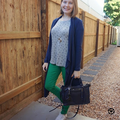 awayfromtheblue Instagram | grey leopard print tee worn with colourful winter layers skinny jeans cardigan regan bag mum style