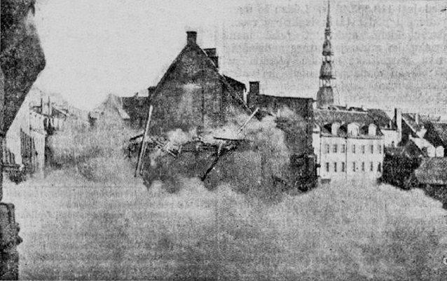 Октябрь 1936 года. Рига. Обрушение дома на Домской площади