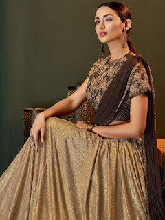 Indian Party Wear Brown and Golden Lycra Pre Stitched Fancy Lehenga Saree Front Design
